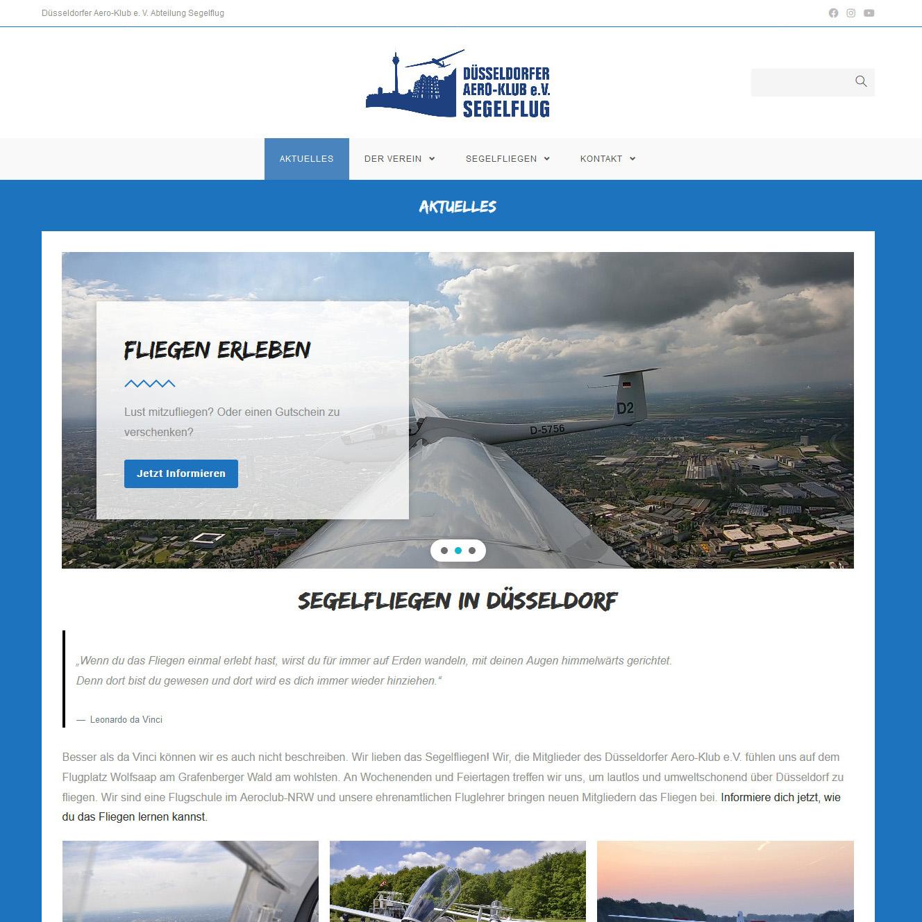 Screenshot von der neuen Webseite
